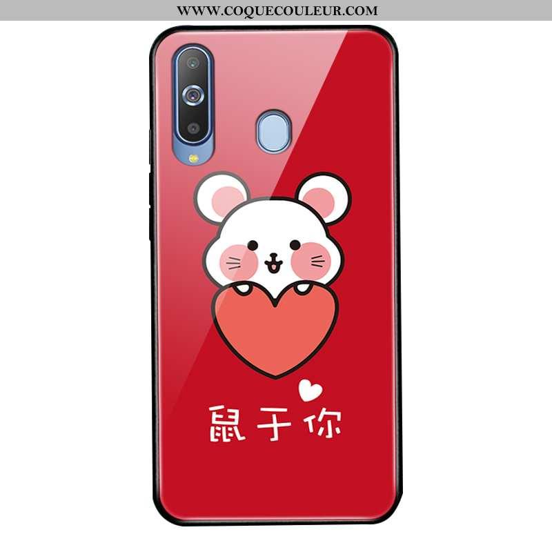 Étui Samsung Galaxy A8s Verre 2020 Protection, Coque Samsung Galaxy A8s Tendance Rouge