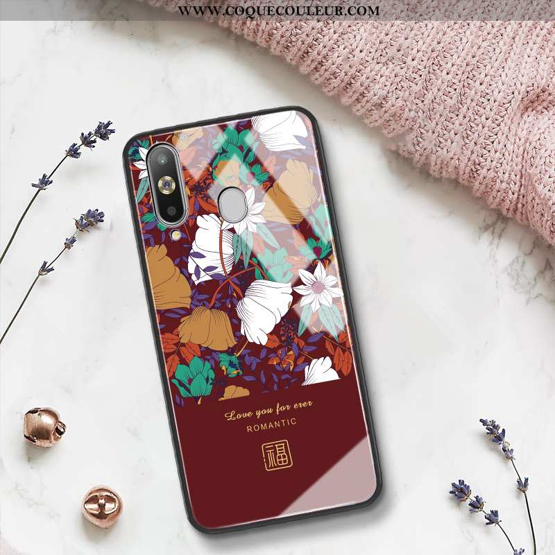 Housse Samsung Galaxy A8s Protection Tout Compris Coque, Étui Samsung Galaxy A8s Verre Tendance Roug