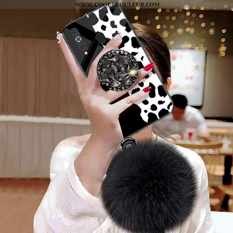 Étui Samsung Galaxy A8s Modèle Fleurie Noir Étoile, Coque Samsung Galaxy A8s Verre Léopard