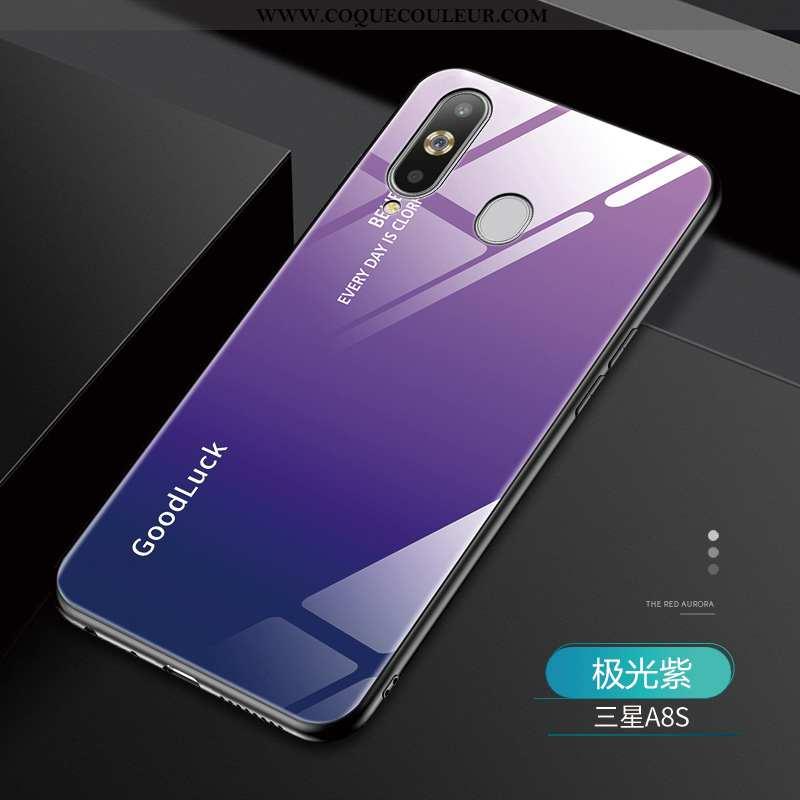 Coque Samsung Galaxy A8s Mode Étui Verre, Housse Samsung Galaxy A8s Protection Luxe Violet