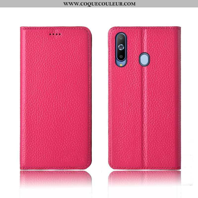 Étui Samsung Galaxy A8s Cuir Étoile 2020, Coque Samsung Galaxy A8s Fluide Doux Clamshell Rose