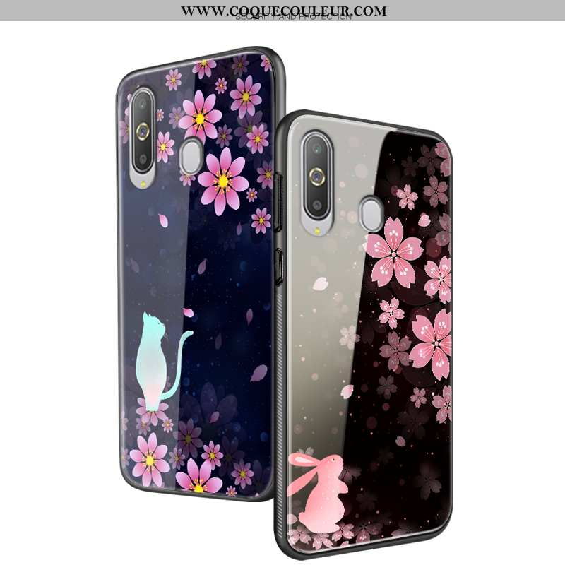 Coque Samsung Galaxy A8s Fluide Doux Fleur Mode, Housse Samsung Galaxy A8s Silicone Protection Noir