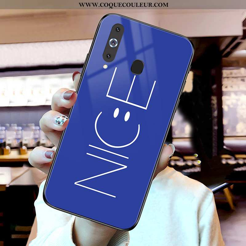 Housse Samsung Galaxy A8s Verre Bleu Téléphone Portable, Étui Samsung Galaxy A8s Incassable
