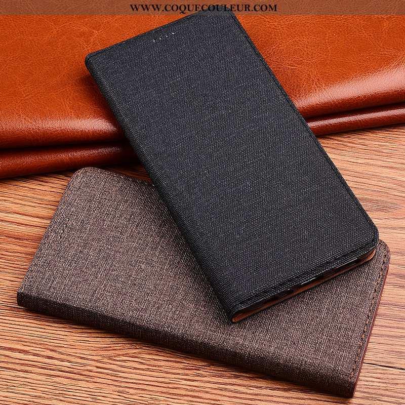 Housse Samsung Galaxy A8s Fluide Doux Lin Clamshell, Étui Samsung Galaxy A8s Silicone Nouveau Noir