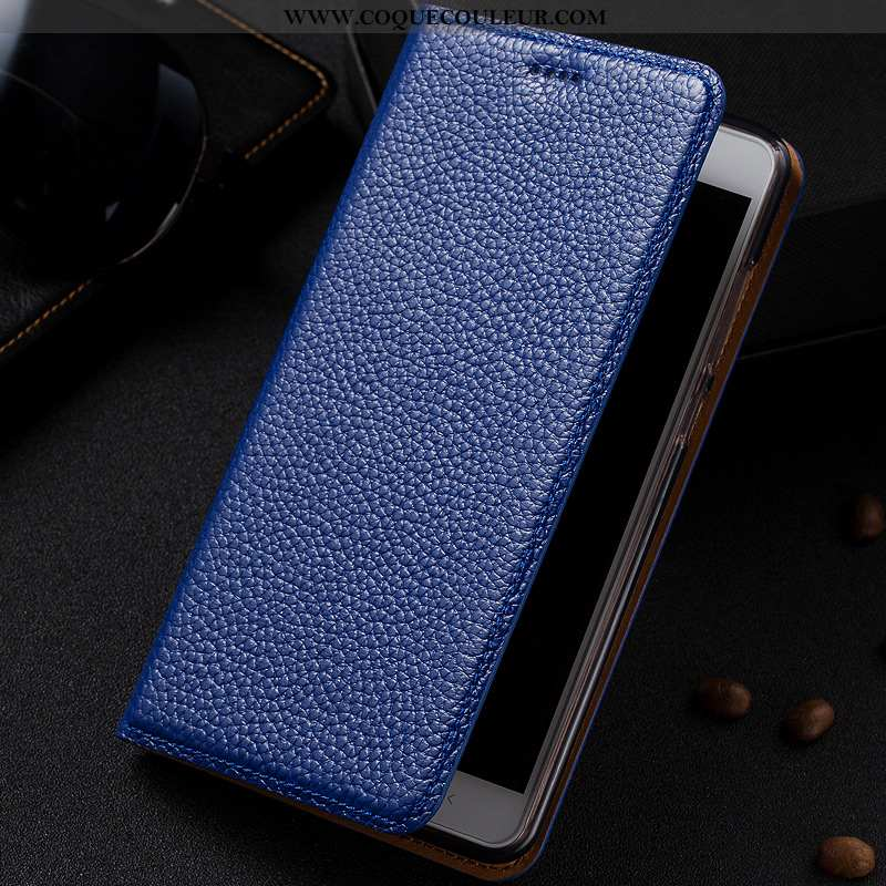Housse Samsung Galaxy Note 10 Lite Cuir Véritable Protection Bleu Marin, Étui Samsung Galaxy Note 10