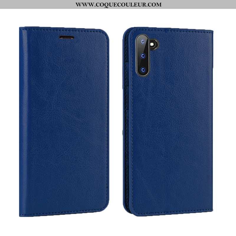 Étui Samsung Galaxy Note 10 Luxe Protection Clamshell, Coque Samsung Galaxy Note 10 Cuir Véritable B