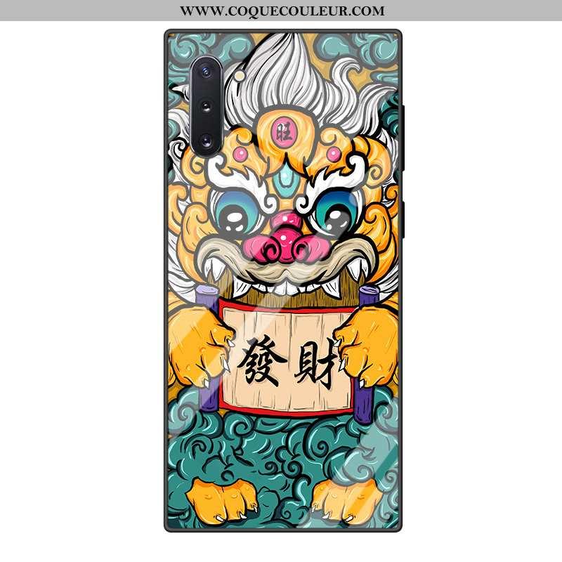 Coque Samsung Galaxy Note 10 Verre Vert Téléphone Portable, Housse Samsung Galaxy Note 10 Dessin Ani
