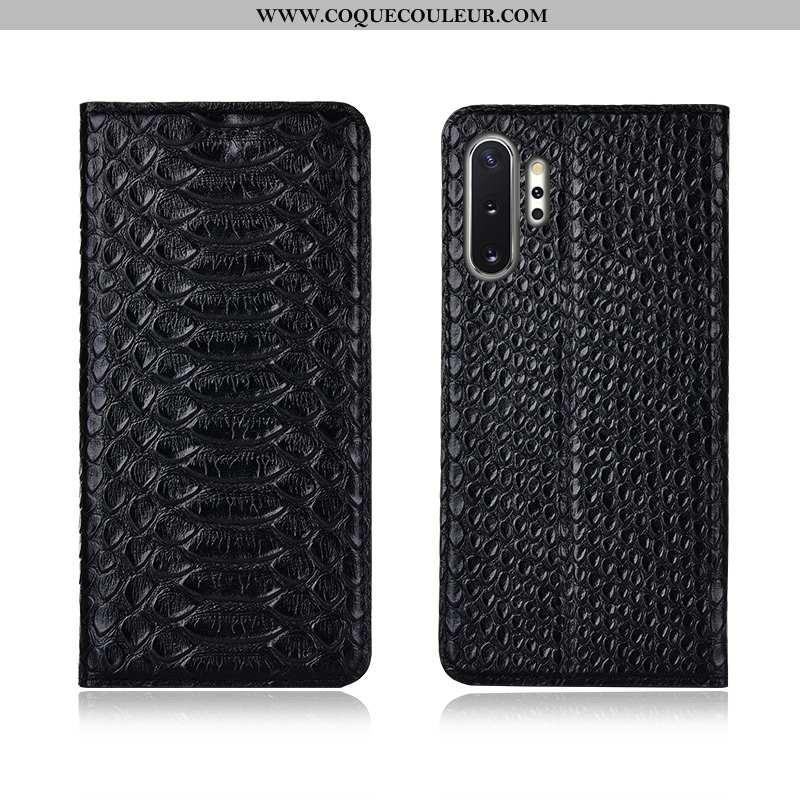 Housse Samsung Galaxy Note 10+ Cuir Véritable Noir Coque, Étui Samsung Galaxy Note 10+ Cuir