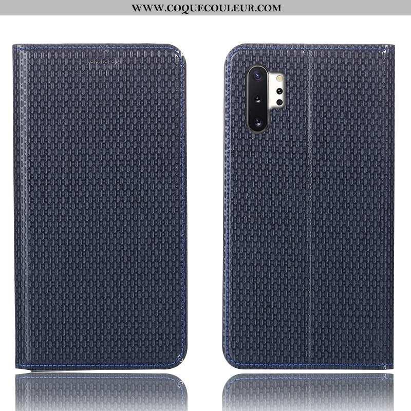 Housse Samsung Galaxy Note 10+ Cuir Véritable Étui Coque, Samsung Galaxy Note 10+ Modèle Fleurie Tél