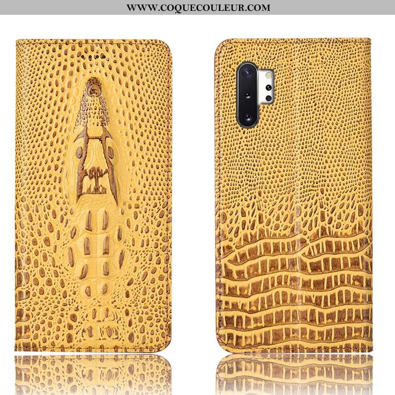 Étui Samsung Galaxy Note 10+ Cuir Véritable Étoile, Coque Samsung Galaxy Note 10+ Protection Jaune