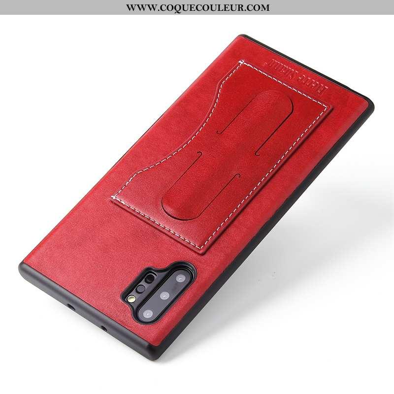 Coque Samsung Galaxy Note 10+ Cuir Étui Coque, Housse Samsung Galaxy Note 10+ Protection Rouge
