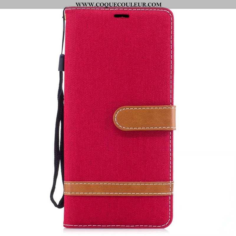 Coque Samsung Galaxy Note 8 Cuir Tendance Étoile, Housse Samsung Galaxy Note 8 Protection Rouge