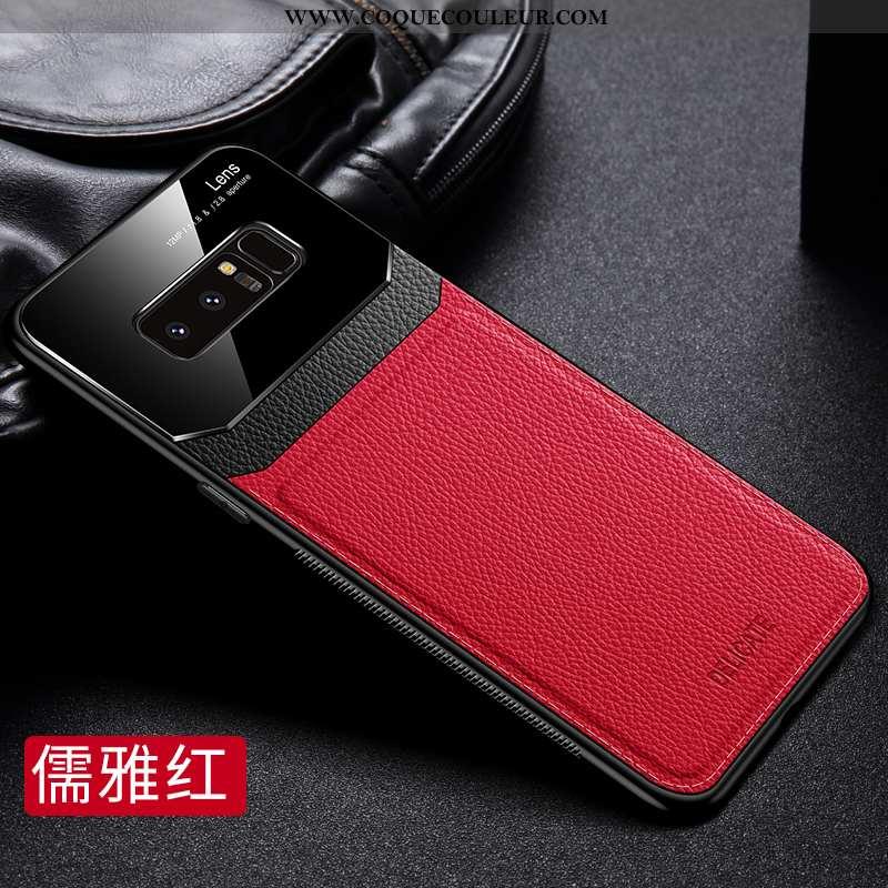 Coque Samsung Galaxy Note 8 Ultra Délavé En Daim Cuir, Housse Samsung Galaxy Note 8 Légère Luxe Roug