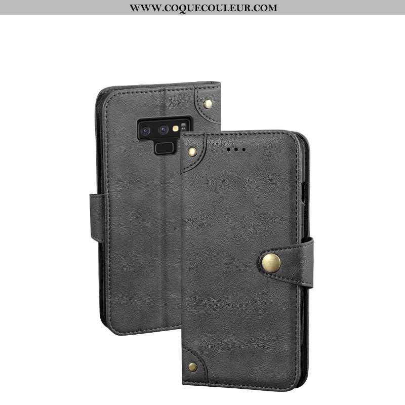 Coque Samsung Galaxy Note 9 Tendance Clamshell Noir, Housse Samsung Galaxy Note 9 Cuir Fluide Doux N