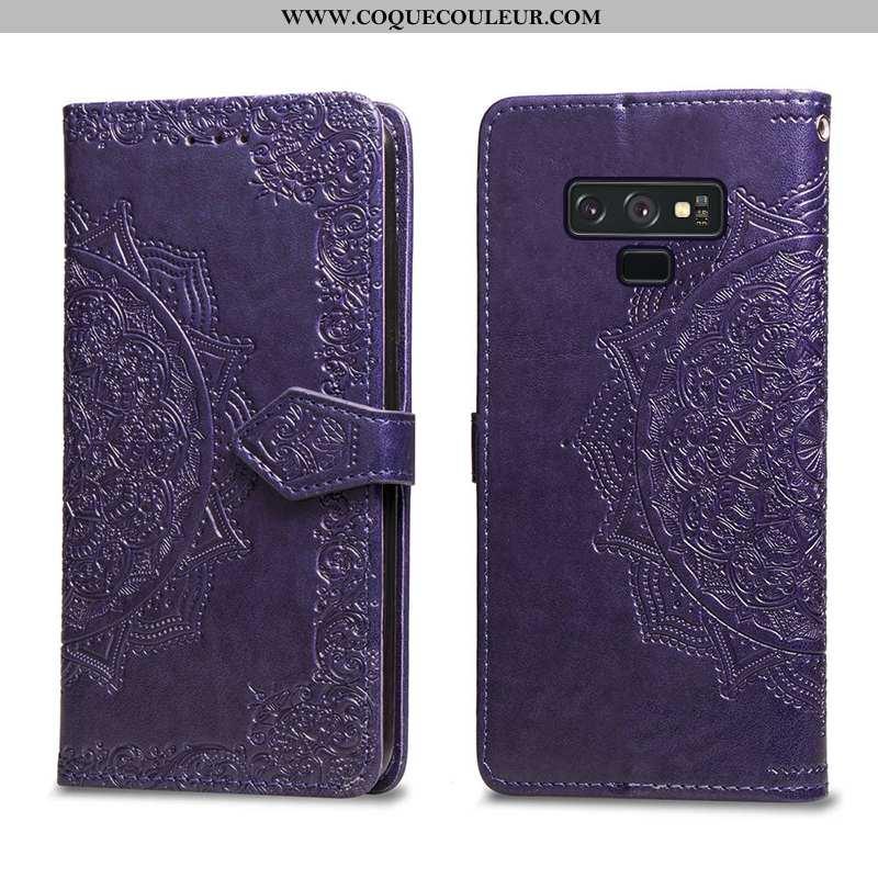 Coque Samsung Galaxy Note 9 Cuir Violet Téléphone Portable, Housse Samsung Galaxy Note 9 Fluide Doux