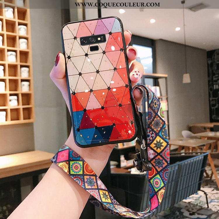 Coque Samsung Galaxy Note 9 Protection Étui Fluide Doux, Housse Samsung Galaxy Note 9 Verre Rouge