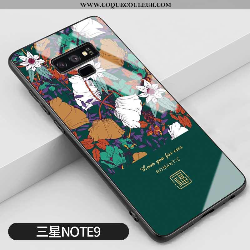Étui Samsung Galaxy Note 9 Créatif Silicone Étoile, Coque Samsung Galaxy Note 9 Vintage Miroir Verte