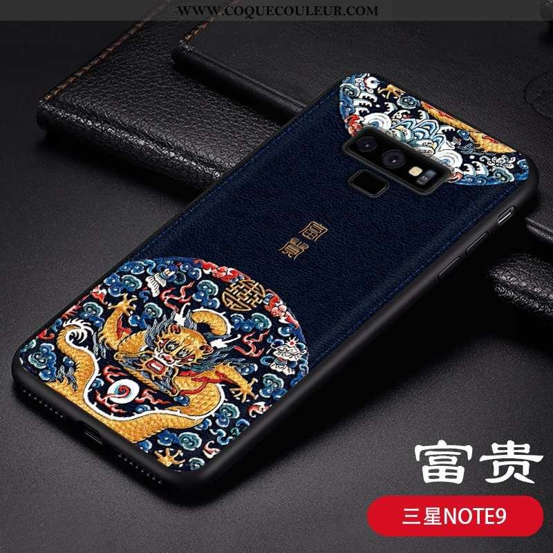 Housse Samsung Galaxy Note 9 Gaufrage Étui Téléphone Portable, Samsung Galaxy Note 9 Ultra Vent Bleu