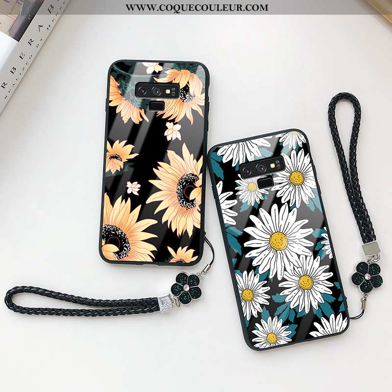 Étui Samsung Galaxy Note 9 Verre Noir Téléphone Portable, Coque Samsung Galaxy Note 9 Légère Protect