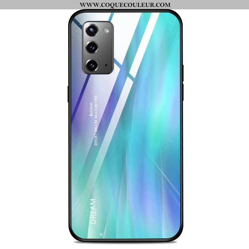 Étui Samsung Galaxy Note20 Créatif Couleur Unie Verre, Coque Samsung Galaxy Note20 Ultra Bleu