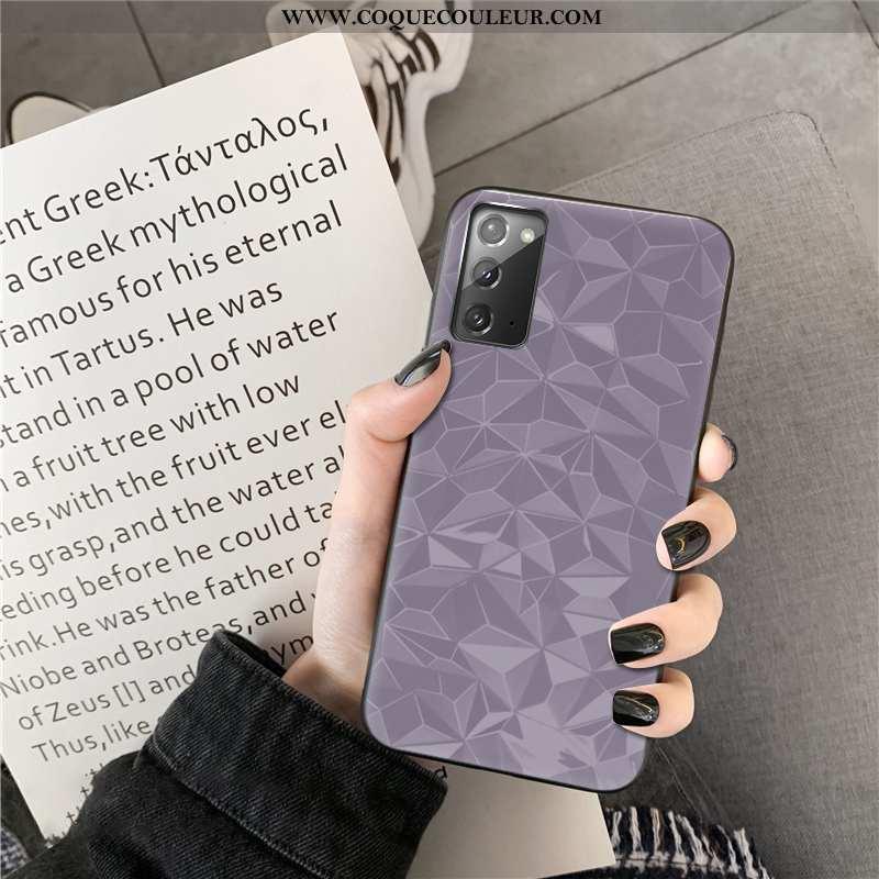Étui Samsung Galaxy Note20 Personnalité Simple Losange, Coque Samsung Galaxy Note20 Couleur Unie Vio