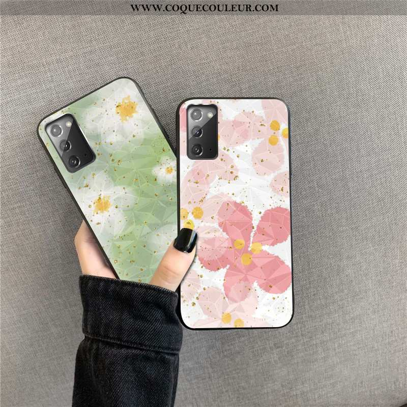 Étui Samsung Galaxy Note20 Coque Fleurs Rose, Samsung Galaxy Note20 Téléphone Portable Or Rose