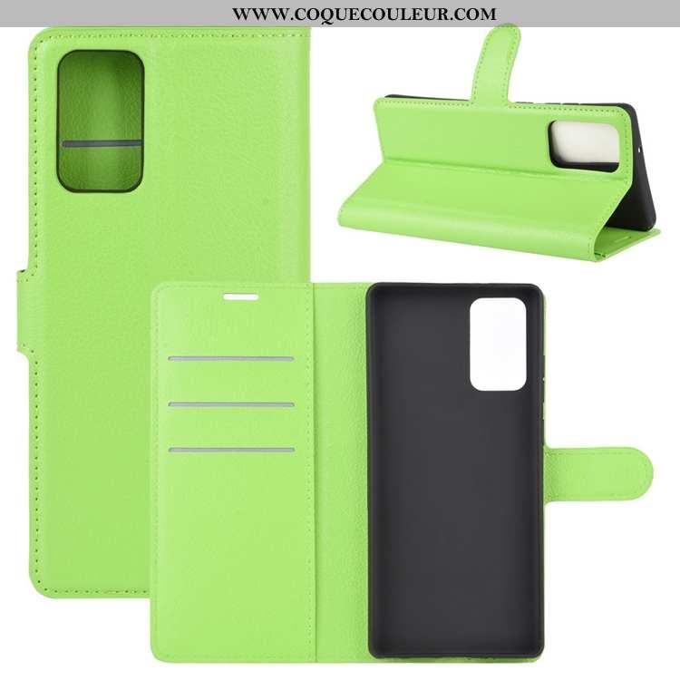 Housse Samsung Galaxy Note20 Délavé En Daim Vert Clamshell, Étui Samsung Galaxy Note20 Cuir Étoile V