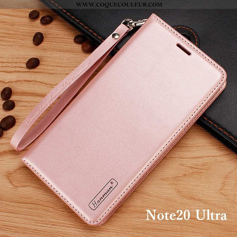 Housse Samsung Galaxy Note20 Ultra Portefeuille Étui Rose, Samsung Galaxy Note20 Ultra Cuir Véritabl