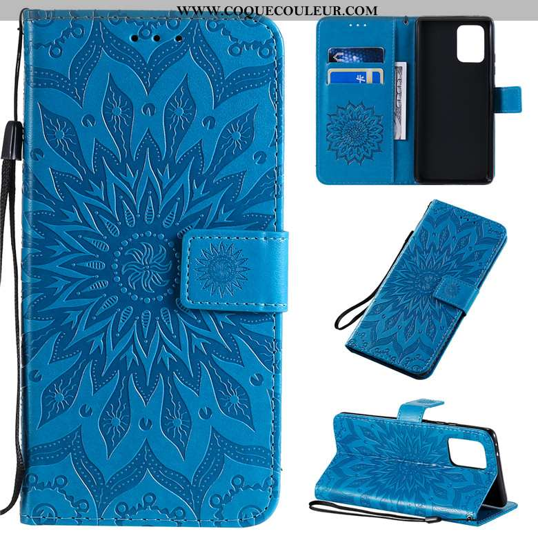 Étui Samsung Galaxy S10 Lite Cuir Tout Compris Coque, Coque Samsung Galaxy S10 Lite Protection Bleu