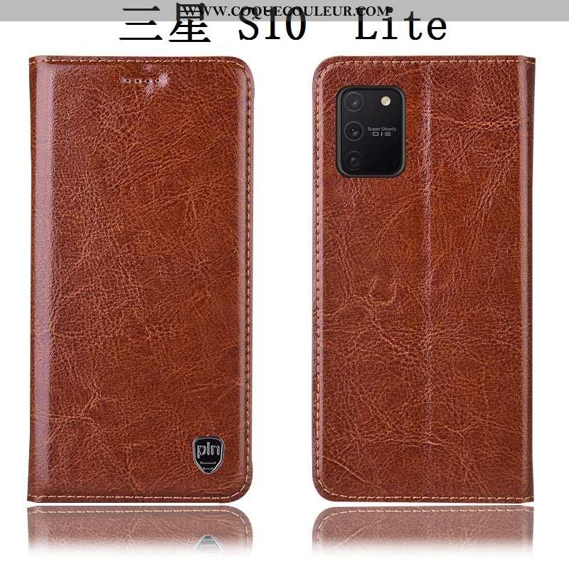 Housse Samsung Galaxy S10 Lite Cuir Véritable Étui Housse, Samsung Galaxy S10 Lite Cuir Téléphone Po