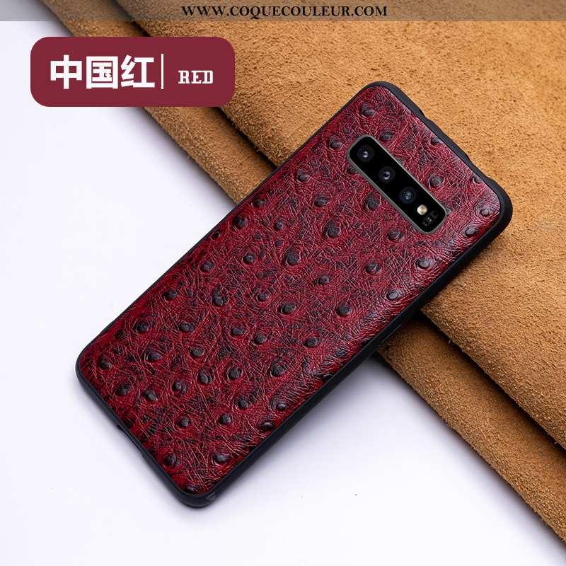 Étui Samsung Galaxy S10 Cuir Légère, Coque Samsung Galaxy S10 Protection Créatif Véritable Rouge