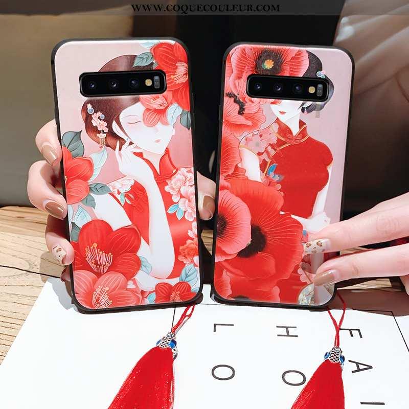 Housse Samsung Galaxy S10 Ultra Tout Compris Vintage, Étui Samsung Galaxy S10 Légère À Franges Rouge