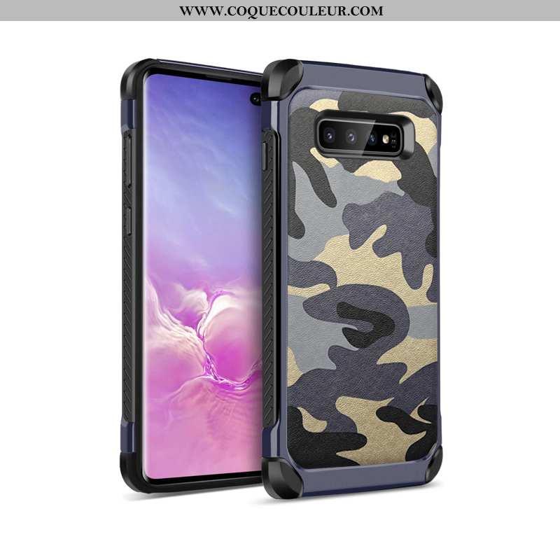 Coque Samsung Galaxy S10 Protection Étui, Housse Samsung Galaxy S10 Tendance Luxe Bleu