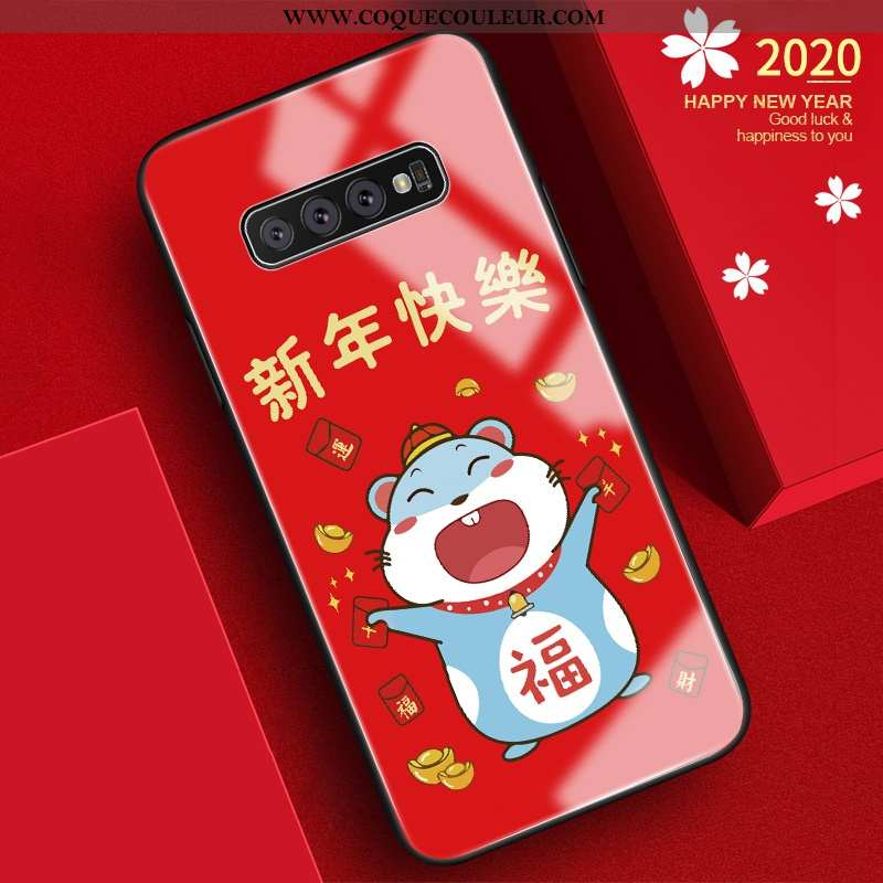 Coque Samsung Galaxy S10 Silicone Verre Tendance, Housse Samsung Galaxy S10 Protection Nouveau Rouge