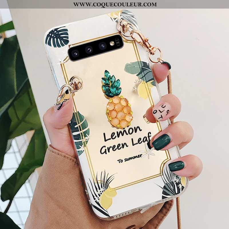 Étui Samsung Galaxy S10 Strass Silicone Frais, Coque Samsung Galaxy S10 Ornements Suspendus Peinture