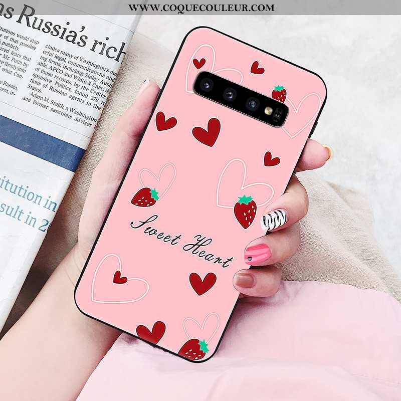 Étui Samsung Galaxy S10 Fluide Doux Étoile Peinture, Coque Samsung Galaxy S10 Silicone Nouveau Rose