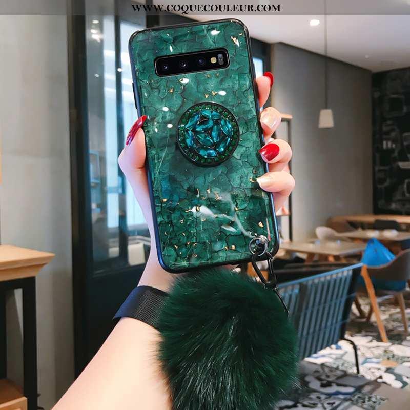 Coque Samsung Galaxy S10 Verre Silicone, Housse Samsung Galaxy S10 Personnalité Étoile Verte
