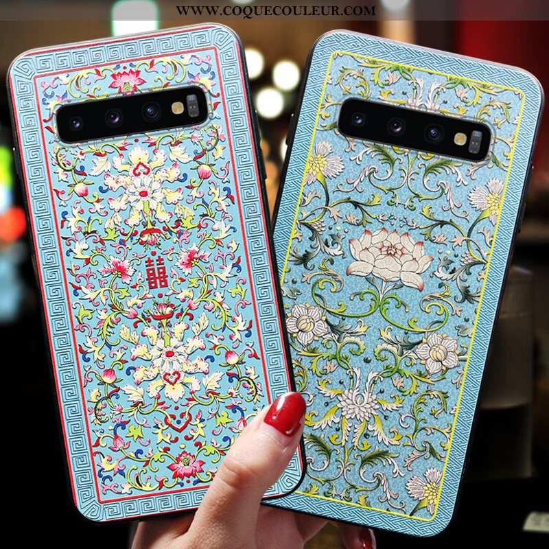 Housse Samsung Galaxy S10 Délavé En Daim Incassable Bleu, Étui Samsung Galaxy S10 Tendance Tout Comp