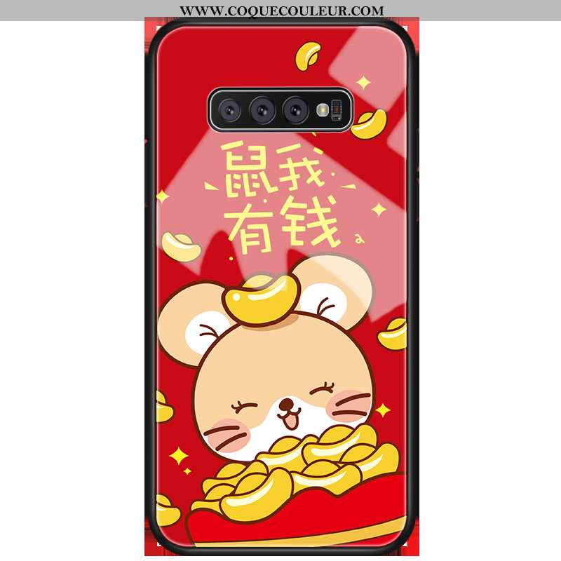 Coque Samsung Galaxy S10 Verre Protection Rouge, Housse Samsung Galaxy S10 Personnalité Rouge