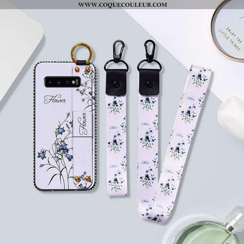Housse Samsung Galaxy S10 Silicone Étui Étoile, Samsung Galaxy S10 Protection Fleur Blanche