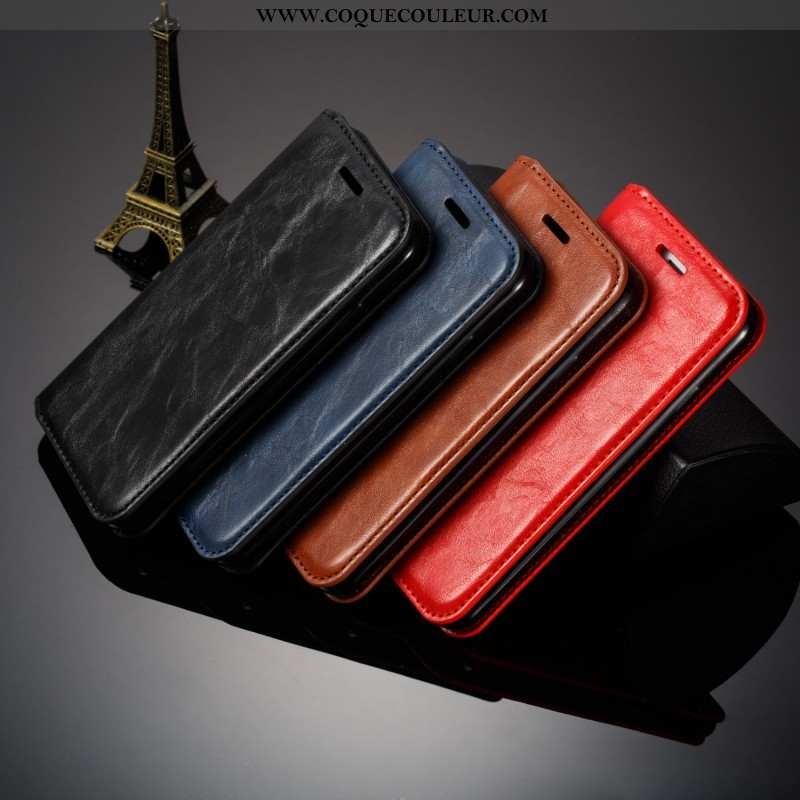 Coque Samsung Galaxy S10 Cuir Bovins Étui, Housse Samsung Galaxy S10 Fluide Doux Luxe Noir