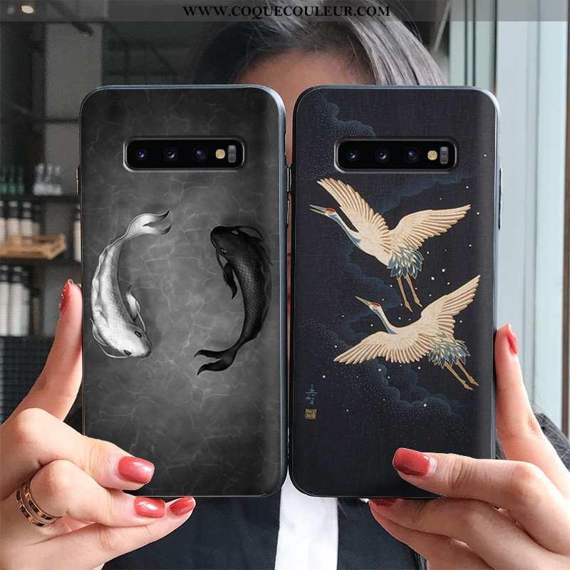 Coque Samsung Galaxy S10+ Personnalité Silicone Squid, Housse Samsung Galaxy S10+ Créatif Blanc Noir