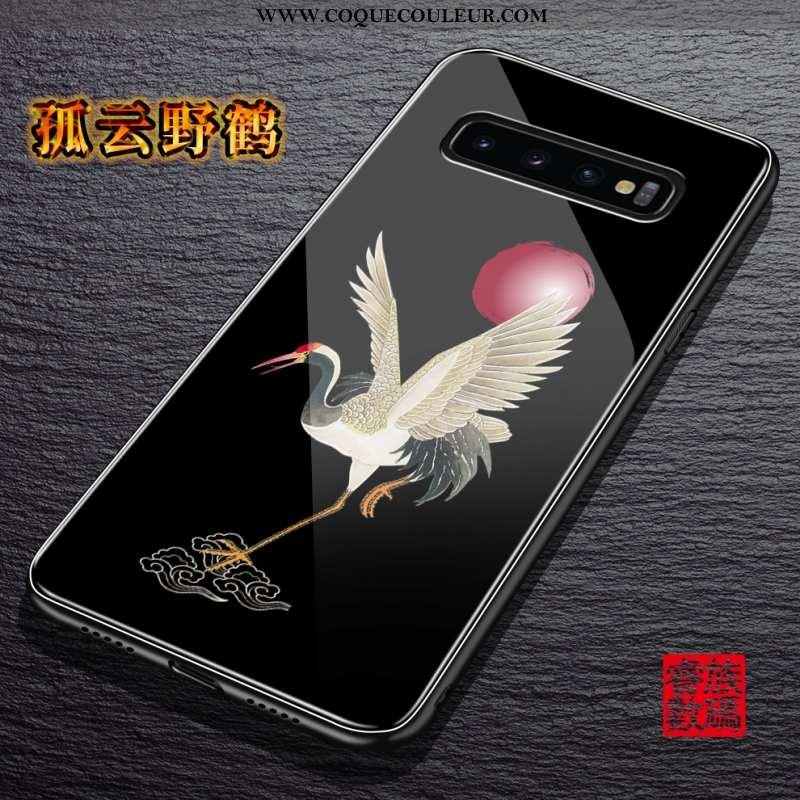 Étui Samsung Galaxy S10+ Créatif Étoile Style Chinois, Coque Samsung Galaxy S10+ Tendance Noir