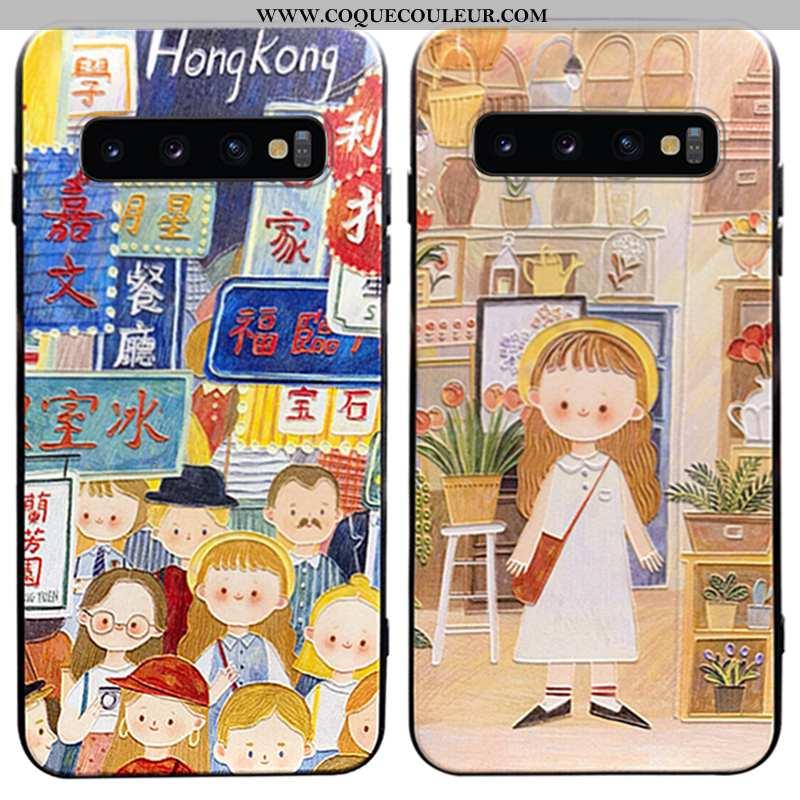 Étui Samsung Galaxy S10+ Délavé En Daim Légère Téléphone Portable, Coque Samsung Galaxy S10+ Personn