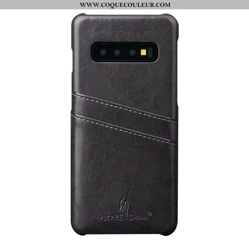 Housse Samsung Galaxy S10+ Créatif Nouveau Coque, Étui Samsung Galaxy S10+ Tendance Cuir Noir
