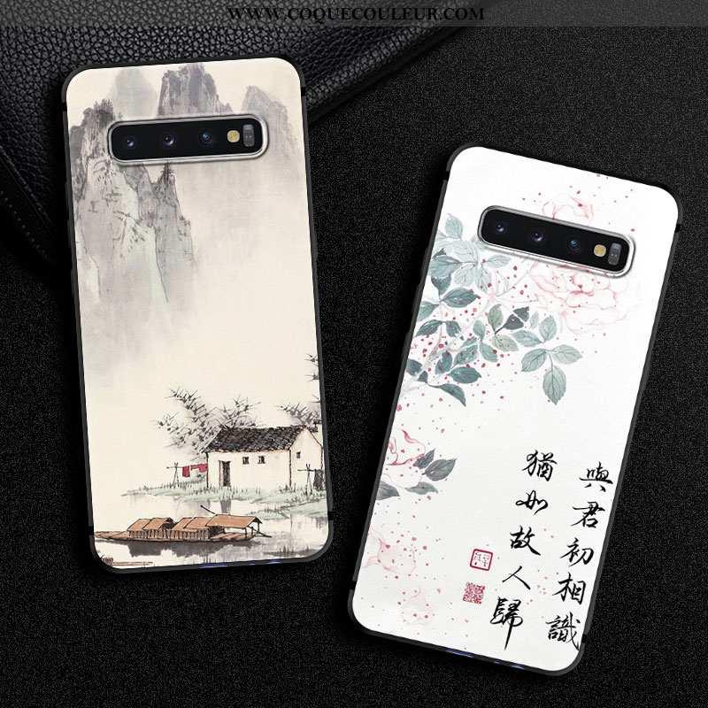 Étui Samsung Galaxy S10+ Personnalité Téléphone Portable Art, Coque Samsung Galaxy S10+ Vintage Sili