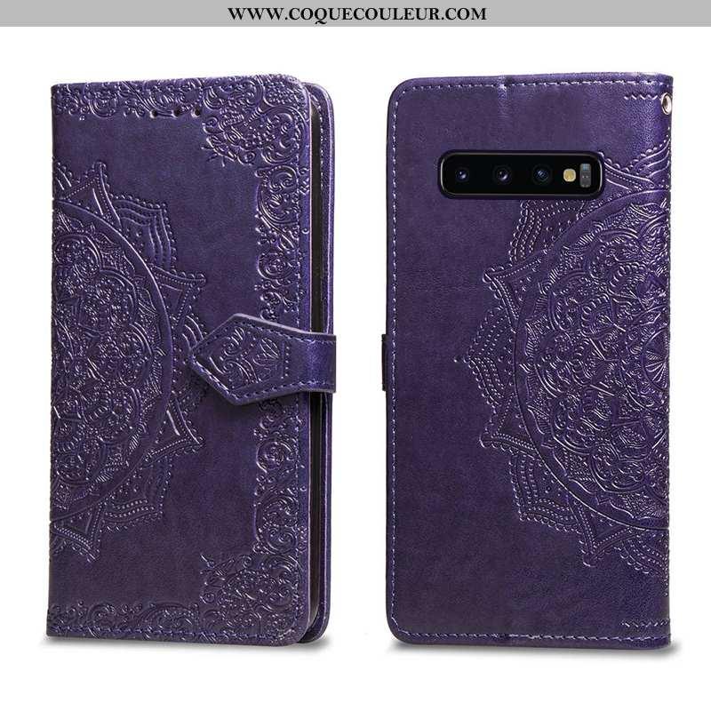 Étui Samsung Galaxy S10+ Cuir Coque Étui, Samsung Galaxy S10+ Tout Compris Violet