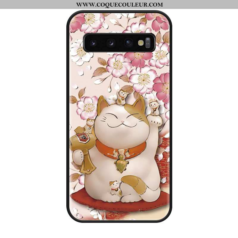 Housse Samsung Galaxy S10+ Mode Net Rouge Téléphone Portable, Étui Samsung Galaxy S10+ Protection Ro
