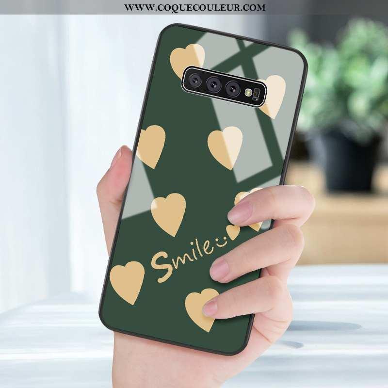 Étui Samsung Galaxy S10+ Protection Frais Mode, Coque Samsung Galaxy S10+ Verre Silicone Verte