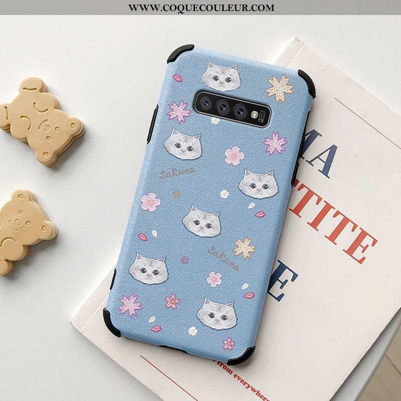Étui Samsung Galaxy S10+ Charmant Téléphone Portable Chat, Coque Samsung Galaxy S10+ Cuir Petit Bleu